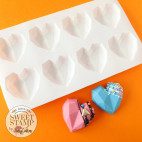 Molde pastel mini corazones geométricos