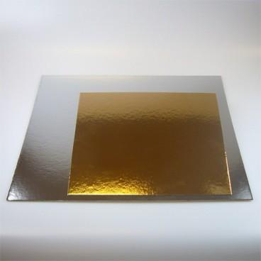 Set de 3 bases oro/plata 35x35 cm