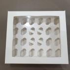 Caja 24 mini cupcakes blanca 3,5cm.