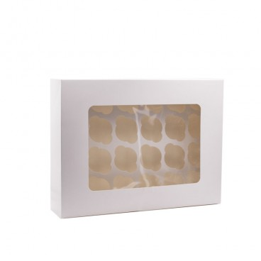 Caja 12 mini cupcakes blanca
