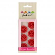Decoraciones de mazapán rosas rojas