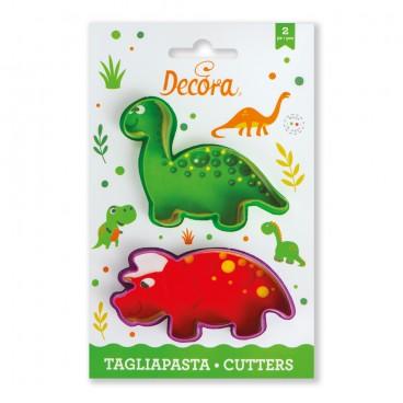 Kit 2 cortadores dinos - Triceratops Brontosaurio